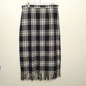 NYCC 90's Black & White Plaid Fringe Maxi Skirt 16
